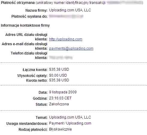 wypłata z uploading